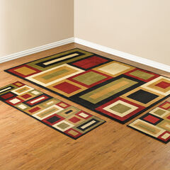 Royalty Geo 3-Pc. Rug Set with Runner, RED GREEN