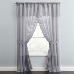 BH Studio Sheer Voile 5-Pc. One-Rod Curtain Set, SLATE
