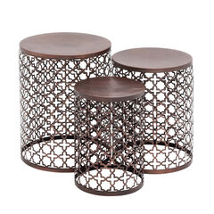 """Set of 3 Brown Metal Industrial Accent Table, 20"""", 18"""", 16"""","""