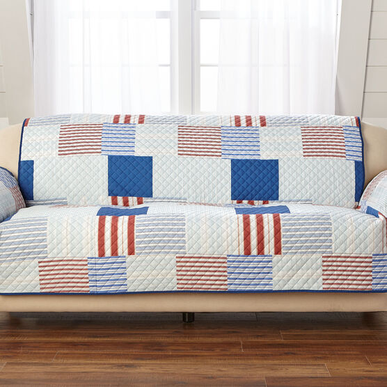 Printed Faux Patchwork Sofa Protector, MULTI