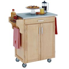 Natural Wood Cuisine Kitchen Cart with Stainless Steel Top,