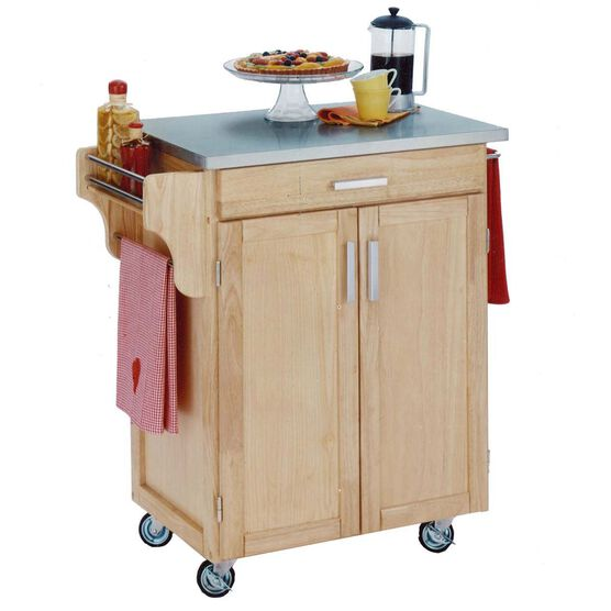 Natural Wood Cuisine Kitchen Cart with Stainless Steel Top