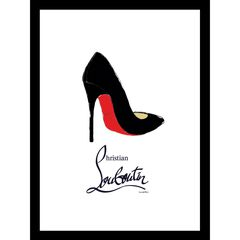"Christian Louboutin Shoe Black/Red 14"" x 18"" Framed Print,"