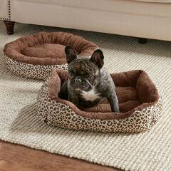 Leopard Print Cuddler Pet Bed, CHOCOLATE LEOPARD