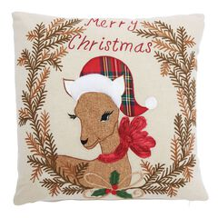 Christmas Fawn Decorative Pillow,