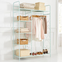 5-Tier Metal Closet with Hanging Rod,
