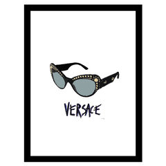 Versace Sunglasses - Black / Blue - 14x18 Framed Print,