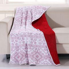Greenland Home Fashions Holly, Cross Stitch Quilted Throw Blanket,