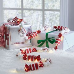 6' Pre-Lit Striped Candy Garland,