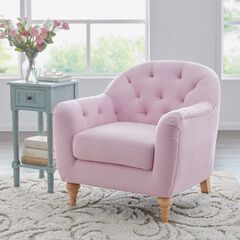 Oversized Mae Extra Wide Tufted Occasional Chair, CHERRY BLOSSOM