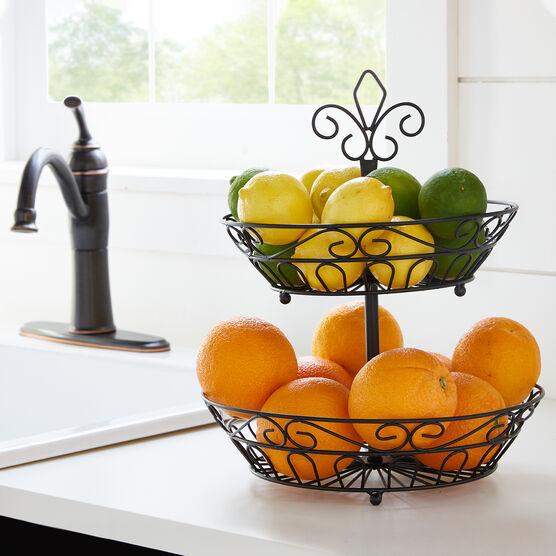 2-Tier Fruit Basket, BLACK