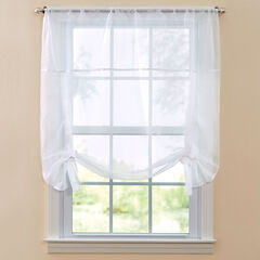 BH Studio Sheer Voile Tie-Up Shade, WHITE