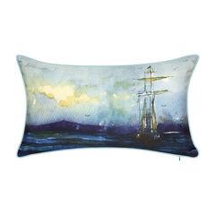 Indoor & Outdoor Watercolor Tall Ship Decorative Pillow,