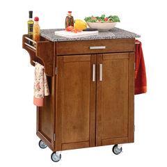 Cottage Oak Finish Create a Cart with Salt & Pepper Granite Top ,