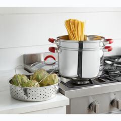 8-Qt. Multi-Cookware with Red Silicone Handles & Knob,