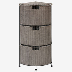 Autumn 3-Tier Corner Grey Wicker Drawer,