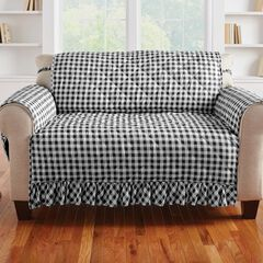 Gingham Ruffled Waterproof Microfiber Loveseat Protector, BLACK WHITE