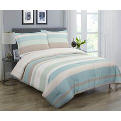 Coastal Stripe Comforter Set, BLUE GREEN BROWN