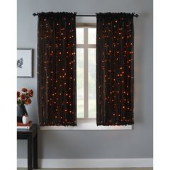 "63"" Pre-Lit Rod-Pocket Curtain Panel, BLACK ORANGE"