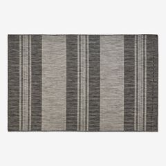 "Carmel Indoor/Outdoor Bold Stripe Rug 4'10"" x 7'6"", BLACK"