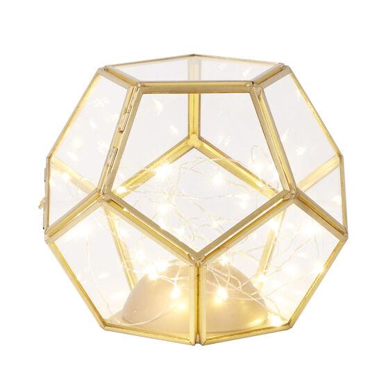 Small Pre-Lit Glass Lantern , GOLD