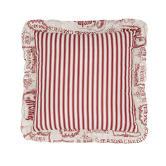 """Vintage Christmas 16"""" Sq. Pillow, IVORY RED"""