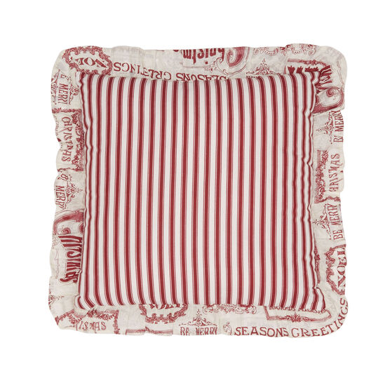 "Vintage Christmas 16"" Sq. Pillow, IVORY RED"