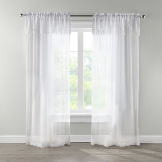 Crushed Voile Rod-Pocket Panel with Attached Layered Valance,