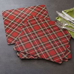 Tartan Plaid Metallic Placemats, Set of 4,
