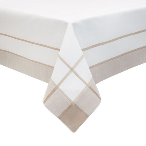 Two-Tone Border Topper, WHITE BEIGE