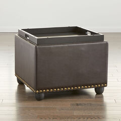 Studded Ottoman with Tray,