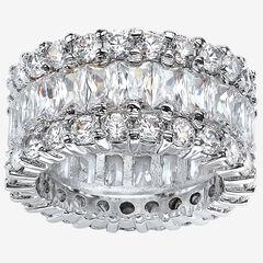 Platinum over Silver Baguette Eternity Bridal Ring Cubic Zirconia,