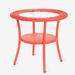 Roma All-Weather Wicker Side Table, CORAL