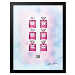 Chanel Pink Bottles - Blue / Pink - 14x18 Framed Print,
