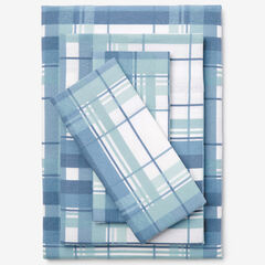 Cotton Flannel Print Sheet Set, SOFT BLUE PLAID