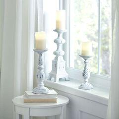White Washed Candlesticks, Set of 3,