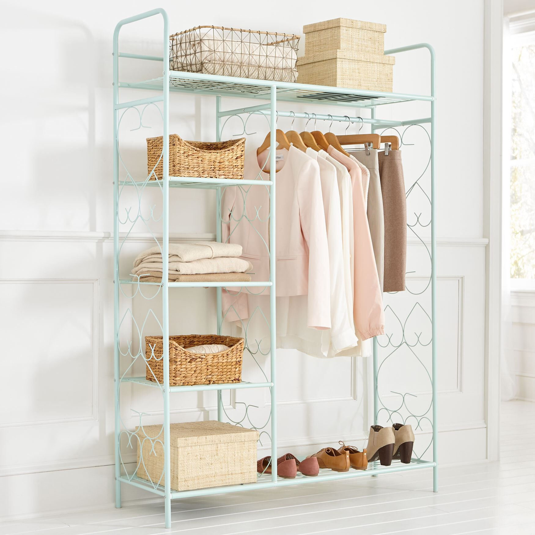 5 Tier Metal Closet With Hanging Rod