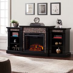 Gallatin Faux Stone Electric Fireplace with Bookcases,