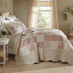 Isabella Floral Printed Patchwork Bedspread,