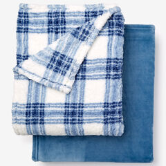Fleece Blanket + Fleece Throw, BLUE