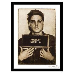 Elvis Presley Mugshot - White / Black - 14x18 Framed Print,