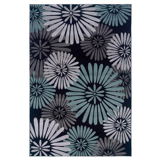 Milan Black/Aqua 5'X8' Area Rug, BLACK AQUA