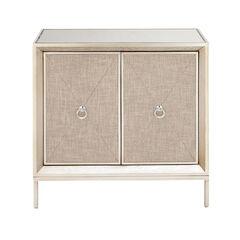 Beige Wood Glam Cabinet, 32x32x16,