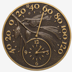 """14"""" Pinecone Clock And Thermometer,"""