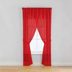 BH Studio Sheer Voile 5-Pc. One-Rod Curtain Set, RED