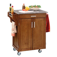 Cottage Oak Finish Create a Cart with Salt & Pepper Granite Top ,