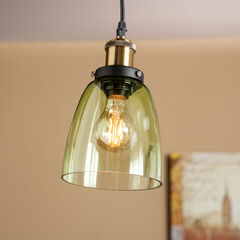 Colored Glass Mini Arched Bell-Shaped Pendant Lamp,