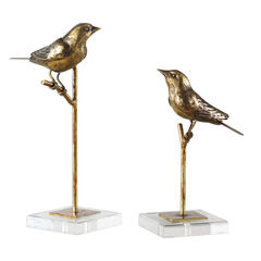 Passerines Bird Sculptures, Set of 2,