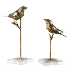 Passerines Bird Sculptures, Set of 2,