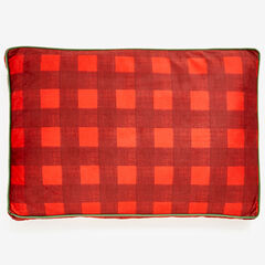 Small Brushed Fleece Buffalo Plaid Pet Bed, BURGUNDY